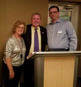 On Skip Kuker's left is Nancy Strickland, Executive Director, Fortville McCordsville Chamber of Commerce and on his right is Brent Archer, President, Fortville McCordsville Chamber of Commerce (Proportion Air)